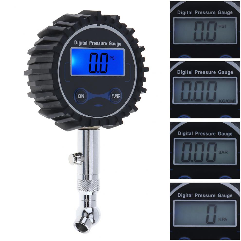 Portable Precision Electronic Digital Tire Gauge Meter Tester with Short Pressure Measuring Valve an