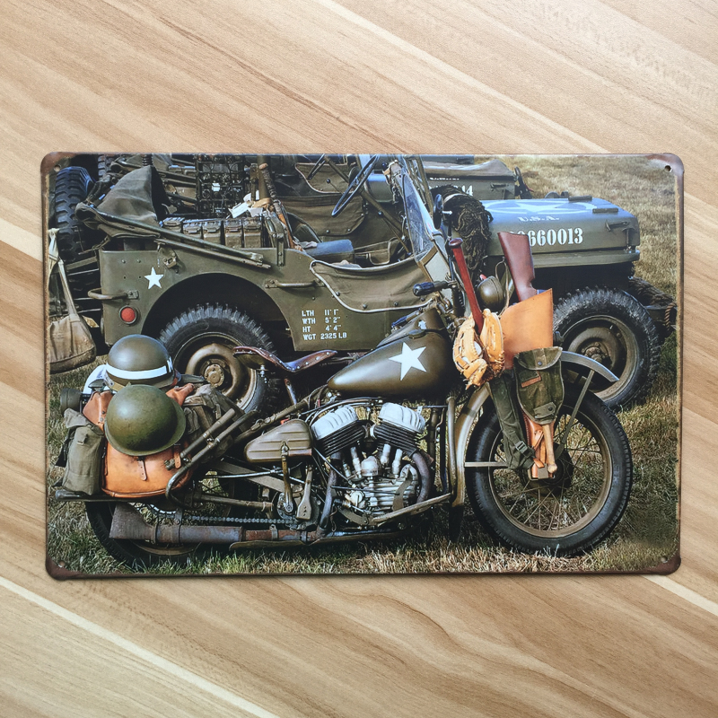SP-QC-180    vintage metal tin signs   USA army motorcycle   painting home decor bar wall art craft sticker  20X30CM