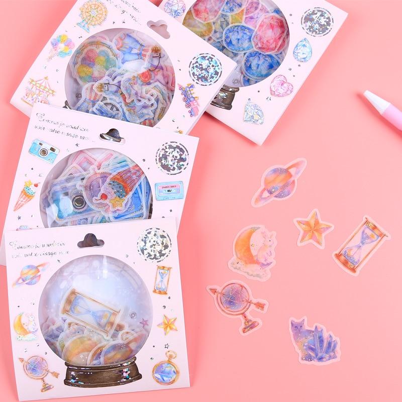 48pcs Crystal Ball Cat Candy Stickers Kawaii Diary Stationery Decoration