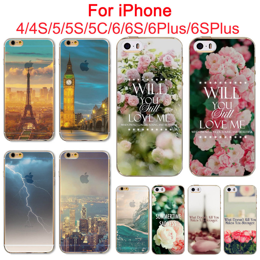 Amazing landscape Soft TPU Phone Case For Apple iPhone 4 4s 5 5S SE 5C 6 6s 6Plus 6sPlus Mobile Phone Bags Back Skin Cases Cover