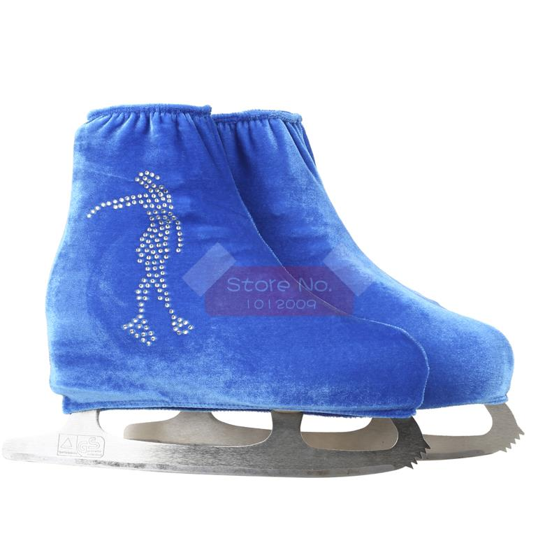 24 Colors Child Adult Velvet Ice Skating Figure Skating Shoes Cover Roller Skate Fabric Accessories White Skater 3 Rhinestone 38