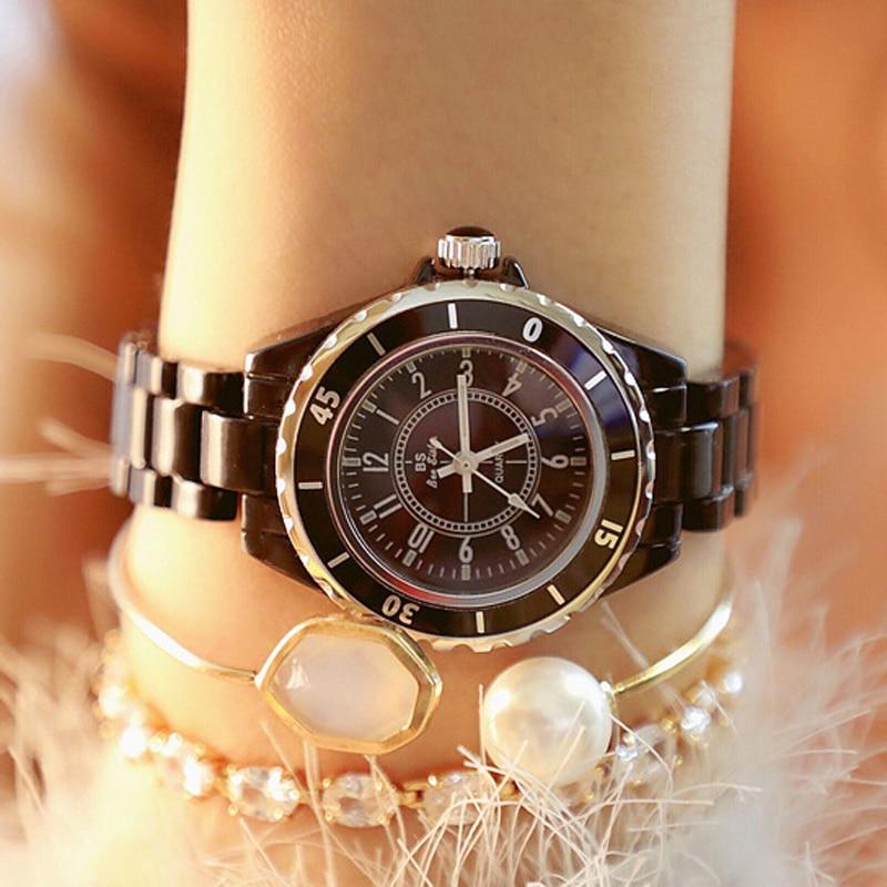 2019 New Casual White Ceramic Watch Fashion Quartz Wristwatch Women Watch Waterproof Ladies Watch Clock Women Montre Femme