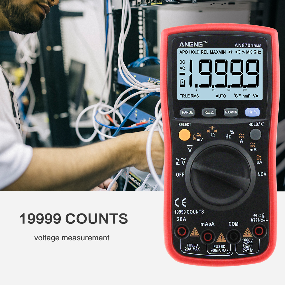 ANENG 870 red Backlight Multímetro Digital profissional multimeter capacimetro 19999 counts AC/DC true rms esr meter true rms Amperímetro Voltímetro Ohm jacaré jumper de teste de chumbo