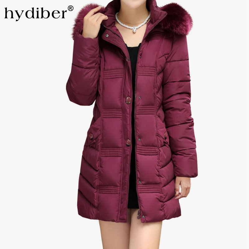 Plus Size Winter Coat Women Vintage Embossing Jacket Long Parkas Hooded Fur Collar Cotton Padded Women Jackets Wadded Coats winter women outwear long hooded cotton coat faux fur collar plus size parkas wadded slim jacket warm padded cotton coats pw0997