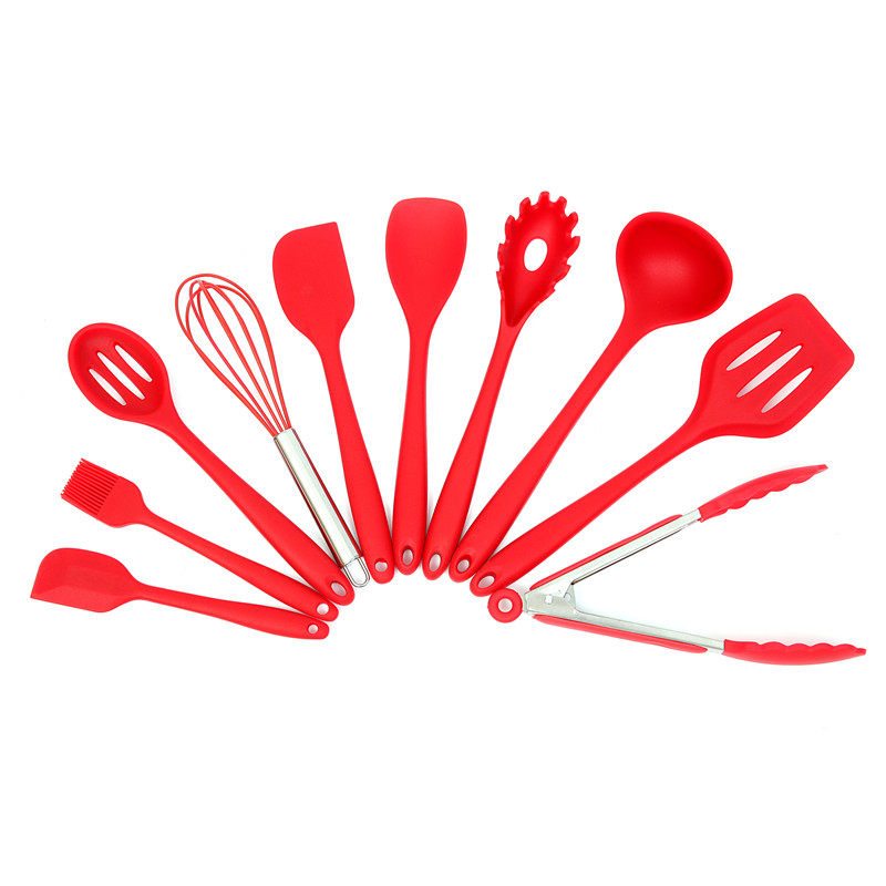 Kitchen Silicone Cooking Tools Set Utensils Spoon Spatula Ladle Egg Beaters Cuisine Nonstick Gadgets Accessories Supplies Items