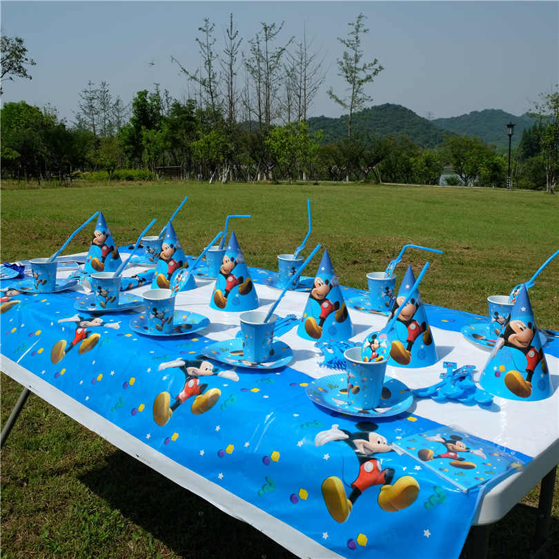 Mickey Mouse tema Fiesta pajitas taza globo servilletas palomitas caja Banner cumpleaños fiesta decoración niños Baby Shower suministros