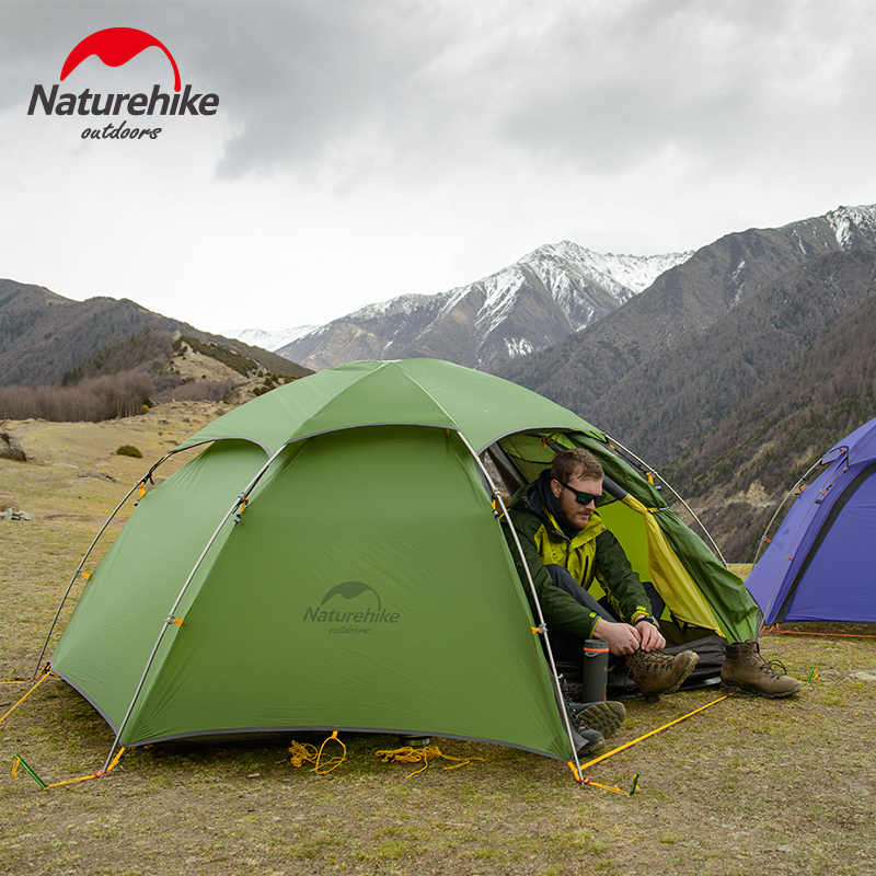 NatureHike 2 Pria Musim Dingin Berkemah Tenda 4 Musim Ultralight 2 Orang Camp Tente Cloud PEAK 2/15D Biru/ 20D Hijau