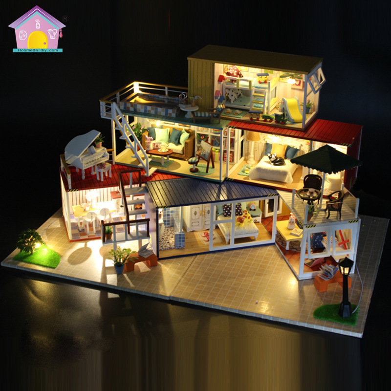 13843 Full set Doll House Diy miniature 3D Wooden Puzzle Dollhouse miniaturas Furniture House Doll toy large villa model miniature house shape diy art 3d jigsaw puzzle
