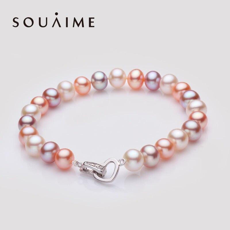 Souaime Armbanden Voor Vrouwen Bracelet de perles deau douce naturelles 7-8mm pour femmes blanc/multicolore quatre Types charme de modeSouaime Armbanden Voor Vrouwen Bracelet de perles deau douce naturelles 7-8mm pour femmes blanc/multicolore quatre Types charme de mode