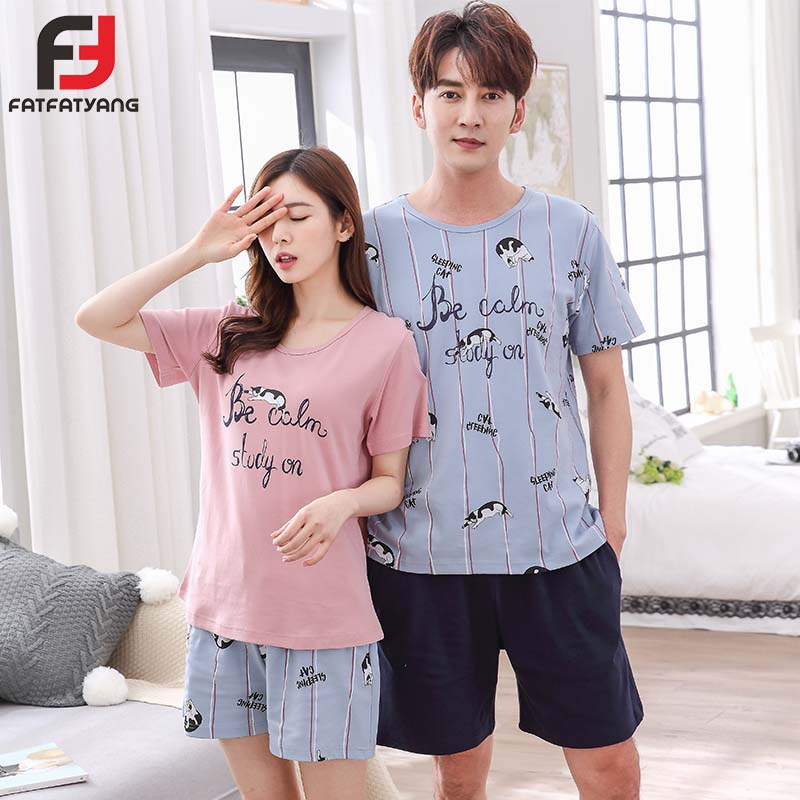Lovers Summer Cotton Pyjama Striped Letter Printed Short Sleeve Sleepwear Suit Couple Pajama Set For Men Women Casual Nightgown