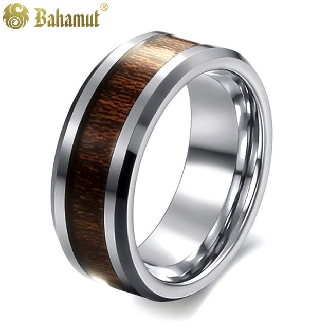 693267d7e Tailor Made 8mm Mens Grooved Titanium Wedding Band Ring Size 8 Wood Ring  Size 9 Ring Set Size 10