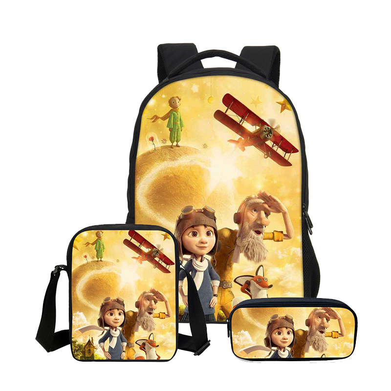 все цены на Cartoon The Little Prince 3D Printing 3PC/Set Backpacks For Boys Girls School Bag Children Bookbag Shoulder Bag Mochila Escolar