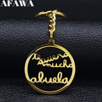 2021 Family Abuela te Puiero Stainless Steel Keychaiin for Women Letter Gold Color Keyring Jewelry llaveros para mujer K406S01 image