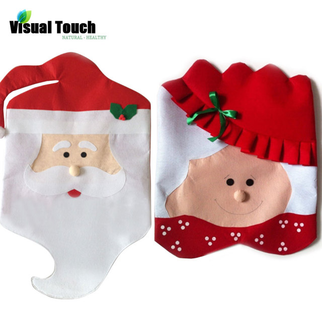 Visual Touch Mr Mrs Santa Claus Chair Covers Christmas Decoration Party Supplies Dinner
