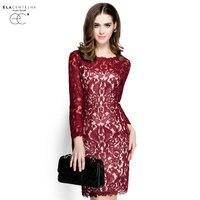 ElaCentelha Brand Dress Summer Autumn Women Lace Hook Flower Hollow Out Dress Casuall Full Sleeve Slim