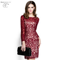 ElaCentelha Brand Dress Summer Autumn Women Lace Hook Flower Hollow Out Dress Casuall Full Sleeve Slim
