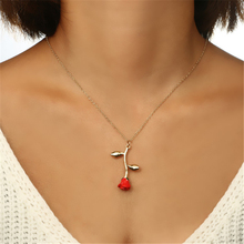 Ailodo Red Rose Flower Statement Necklace Women Choker Gold Color Pendant Boho Charm Jewelry Gifts LD178