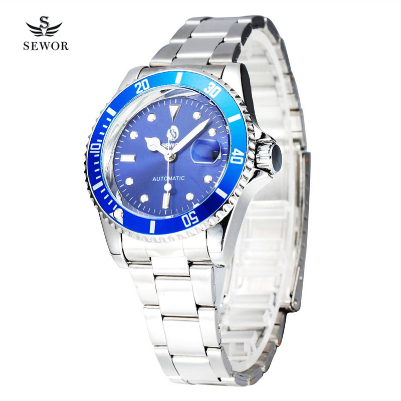 Top Luxury Brand Automatic Watch Men Fashion Mechanical Mens Watches Date Full steel Sport Business Wrist watch Dress Clock 45 fashion leisure sport automatic mechanical wrist watches for mens clock luxury brand leather band skeleton dial steel mens watch