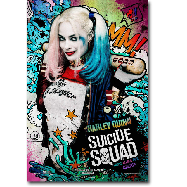Harley Quinn – Suicide Squad Superheroes Art Silk Fabric Poster Canvas Print 13×20 24×36 inch Movie Picture for Wall Decor 005