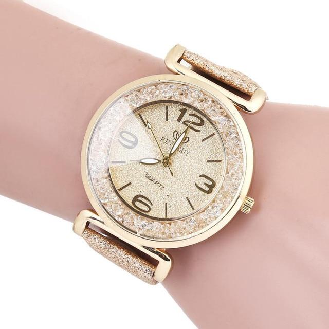 TZ#501 Fashion Women Crystal Stainless Steel Analog Quartz Wrist Watch Free Ship
