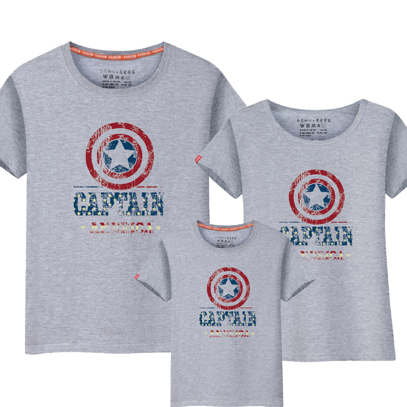 1pcs Family Look Casual American Captian Design T-shirts Summer Family Matching Cloth Far Mor Kids Outfit Cotton Tees