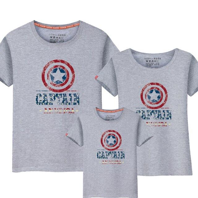 e411316ee Camiseta de algodón con diseño de Captian americano informal de aspecto familiar  de 1 piezas