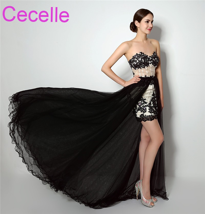 Black Sheath   Prom     Dresses   2019 With Detachable Train Sweetheart Beaded Lace Sheer Bodice Girls   Prom   Gowns Removable Skirt Sale