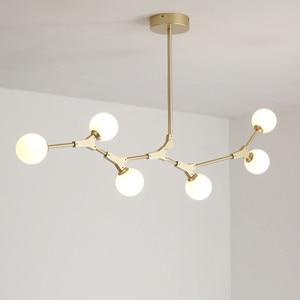 Image 5 - Plafonnier suspendu en verre, design nordique post moderne, luminaire décoratif de plafond, idéal pour un salon, une salle à manger ou une chambre à coucher, LED
