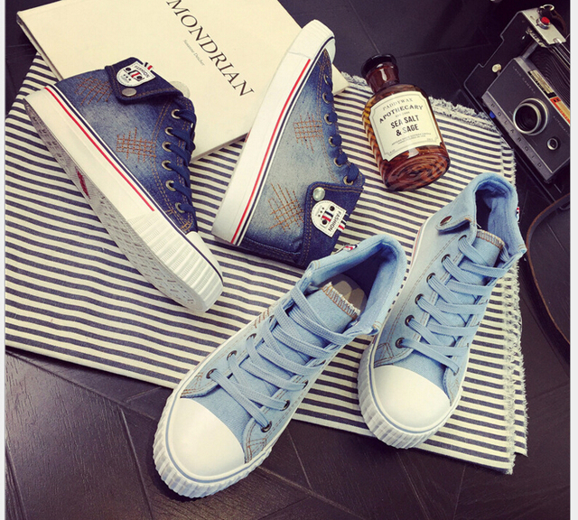 2017 Spring New Women's Vulcanize Shoes denim canvas shoes women's high student casual shoes lady fashion shoes