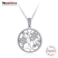 LZESHINE 925 Srebro Drzewo Życia Wisiorek naszyjnik Hollow Okrągły Kobiety CZ Naszyjnik Łańcuch Biżuteria Prezent Collares PSNL0017-B