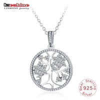 LZESHINE 925 Sterling Silver Life Tree Pendant Necklaces Hollow Round Women CZ Chain Necklace Jewelry Gift Collares PSNL0017-B