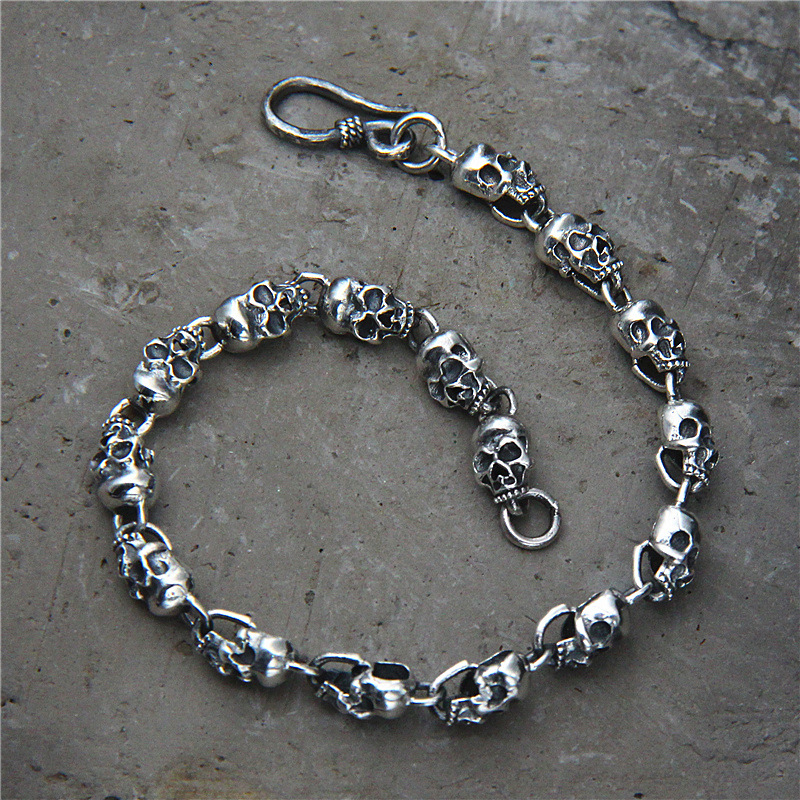 Fashion Punk Skull 925 Sterling Silver Charm bracelet 925 Silver Skull Bracelet Fashion Punk Handmade Original Bracelet Jewelry свитшот print bar hardcore punk skull