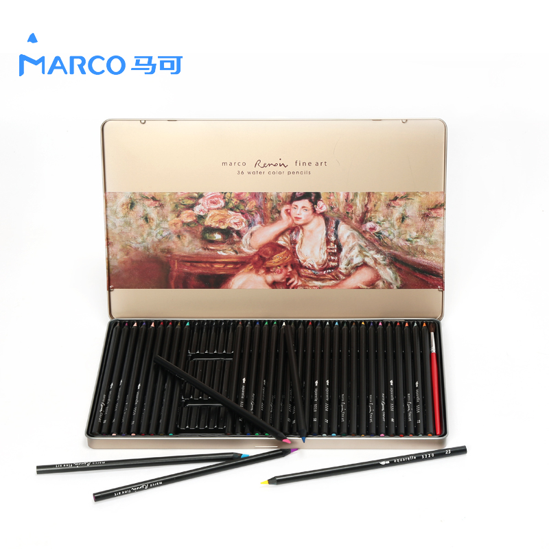 Marco Raffine 24/36/48 Colors Soluble Watercolor Pencil Set Iron Box Color Pencils School Supplies 3220 marco raffine fine art colored pencils 24 36 48 colors drawing sketches mitsubishi colour pencil for school supplies