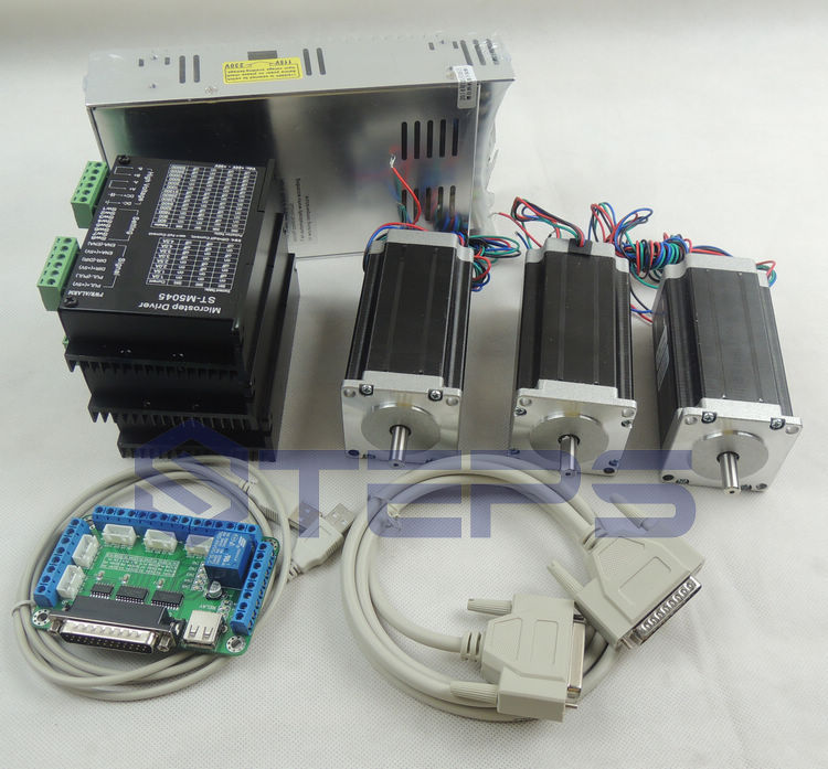 CNC Router 3 axis kit, 24-50VDC ST-M5045 4.5A driver replace 2M542 +5 axis breakout board + Nema23 425 Oz-in motor + 350W power цена