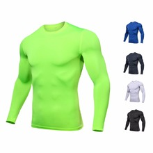 New Quick Dry Running Shirt Men Bodybuilding Breathable Sport T-shirt Long Sleeve Compression Top Gym T-Shirt Men Fitness Tights fitted quick dry gym long sleeve t shirt