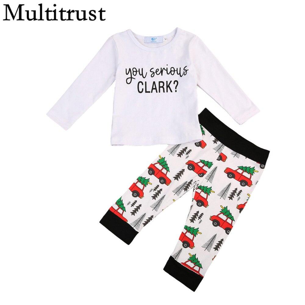 Multitrust Brand 2pcs Cute Toddler Kid Children Boy Girl Cotton Clark T-shirt Tops+xmas Car Pant Clothes Autumn Outfits Set