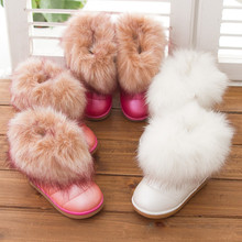 Hot sale!2017 Children girls snow boots faux fox fur kids winter boots sneaker shoes for fur warm windproof cotton-padded shoes