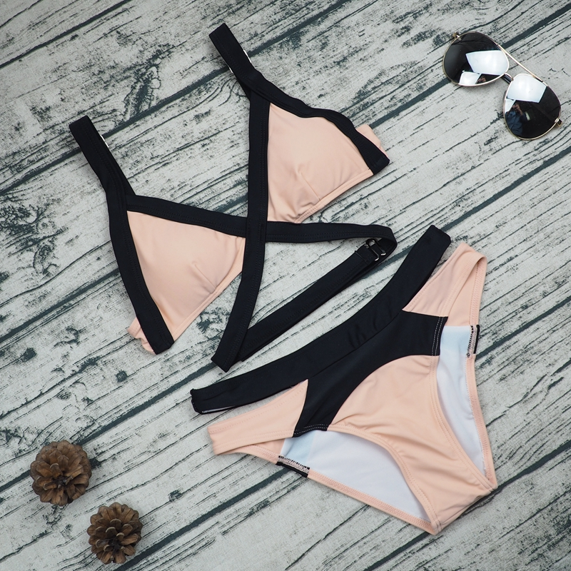 2017 New Swimsuit Summer Style Sexy Strappy Bikini Dynamic Pink Bandage Brand Gini Bikinis Set Swimwear Brazilian Biquini Women женское бикини bikini new brand bikini2015 women bikinis set