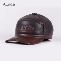 HL062 Genuine Leather Men Baseball Cap Hat Men S Real Leather Adult Solid Adjustable Hats Caps
