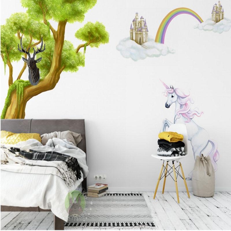custom 3d high quality wallpaper modern simple fashion living room bedroom TV background wall mural cartoon little white horse
