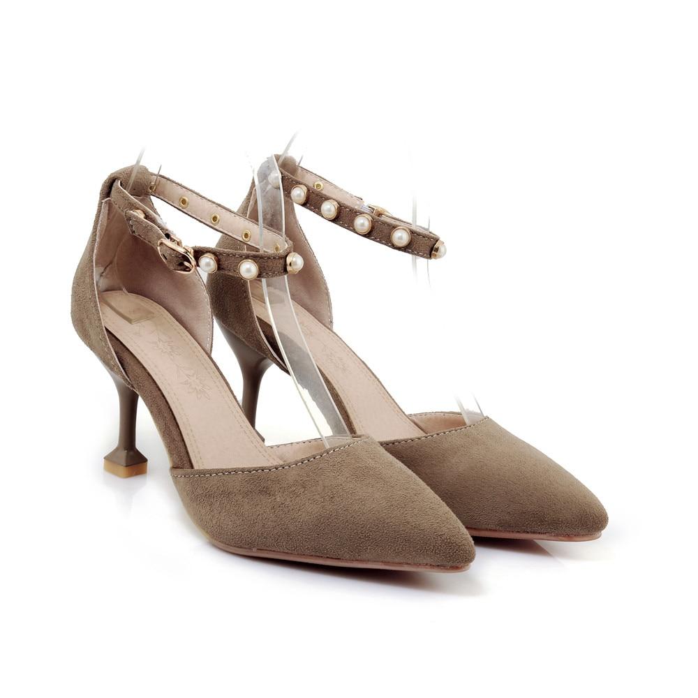 6b8843b0e1e 33 Thin Sexy Morazora Elegante De Tacones Nuevo Mujeres Mujer Estilo 2018  Tamaño Bombas 43 Punta Zapatos caqui Verano Grande ...
