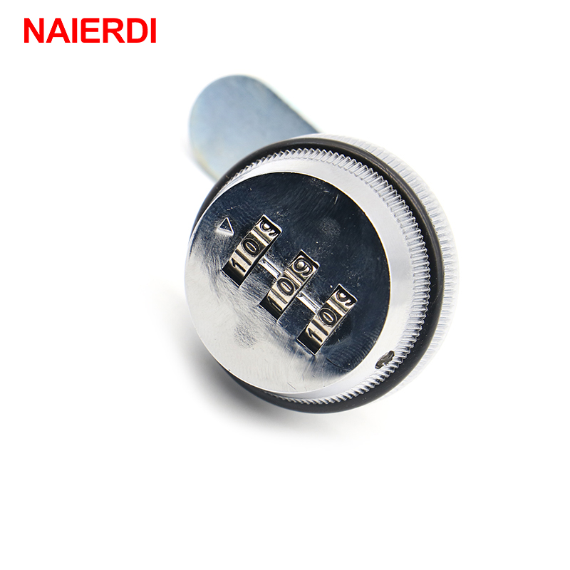 5PCS NAIERDI Combination Lock Black/Silver Zinc Alloy Password Locks Security Home Automation Cam Lock For Mailbox Cabinet Door 3 digit combination camlock chrome cabinet locks door cabinet drawer lock for mailbox black