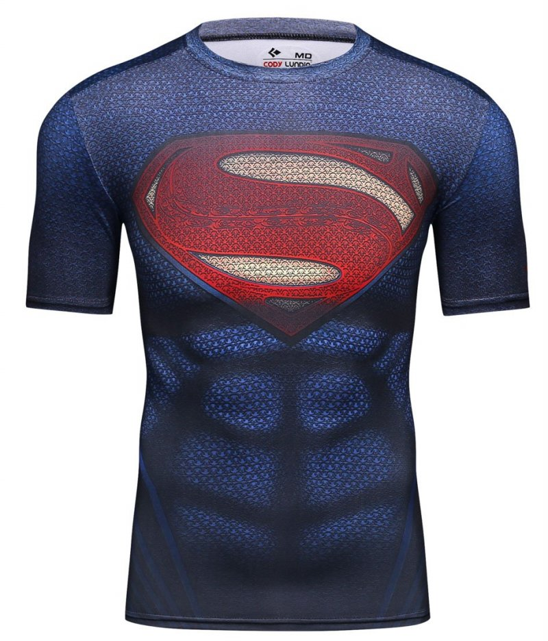 Red PluMens Movie Theme Superhero vs Bat Hero, Spider Hero Exercise Fitness and Compression Shirt Short Sleeves Sports T-shirt