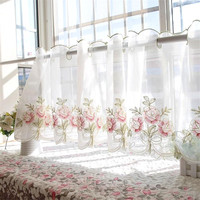 Half curtain Embroidered Window Valance Sheer Transparent Floral Curtain for Kitchen Cabinet Door Screening