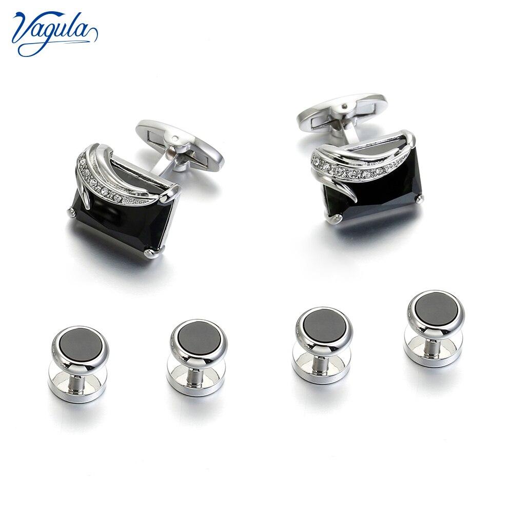 VAGULA Cufflinks Studs in 6PCS Set Luxury Gemelos Button Links Trendy Tuxedo Collar Stud 431 Tie Clips & Cufflinks     - title=