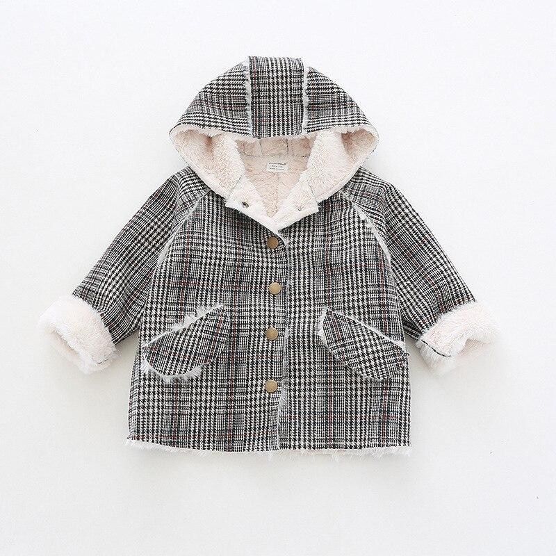 Fashion Children Winter Jacket Girl Winter Coat Unisex Boys Warm Outerwear Wool Plaid Down Coats For Teenage 1-4Years