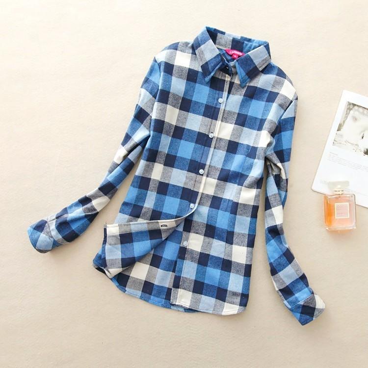 2017 hot sprzedaż jesień zima panie kobieta casual cotton lapel bluzka bluzki z długim rękawem kratę koszula kobiet szczupła odzieży wierzchniej clothing 6