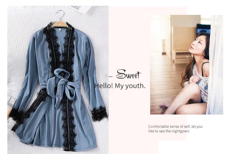 Queenral 3PCS Pyjama Femme Long Sleeve Pijama  For Women Sleepwear Set Home Clothes Pajamas Sets Sexy Lace Robe Pajamas         6 (2)