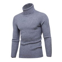 LASPERAL Casual Knitted Sweater Pullovers 2018 New Autumn Winter Warm Men's Sweater Turtleneck Slim Fit Man Double collar(China)
