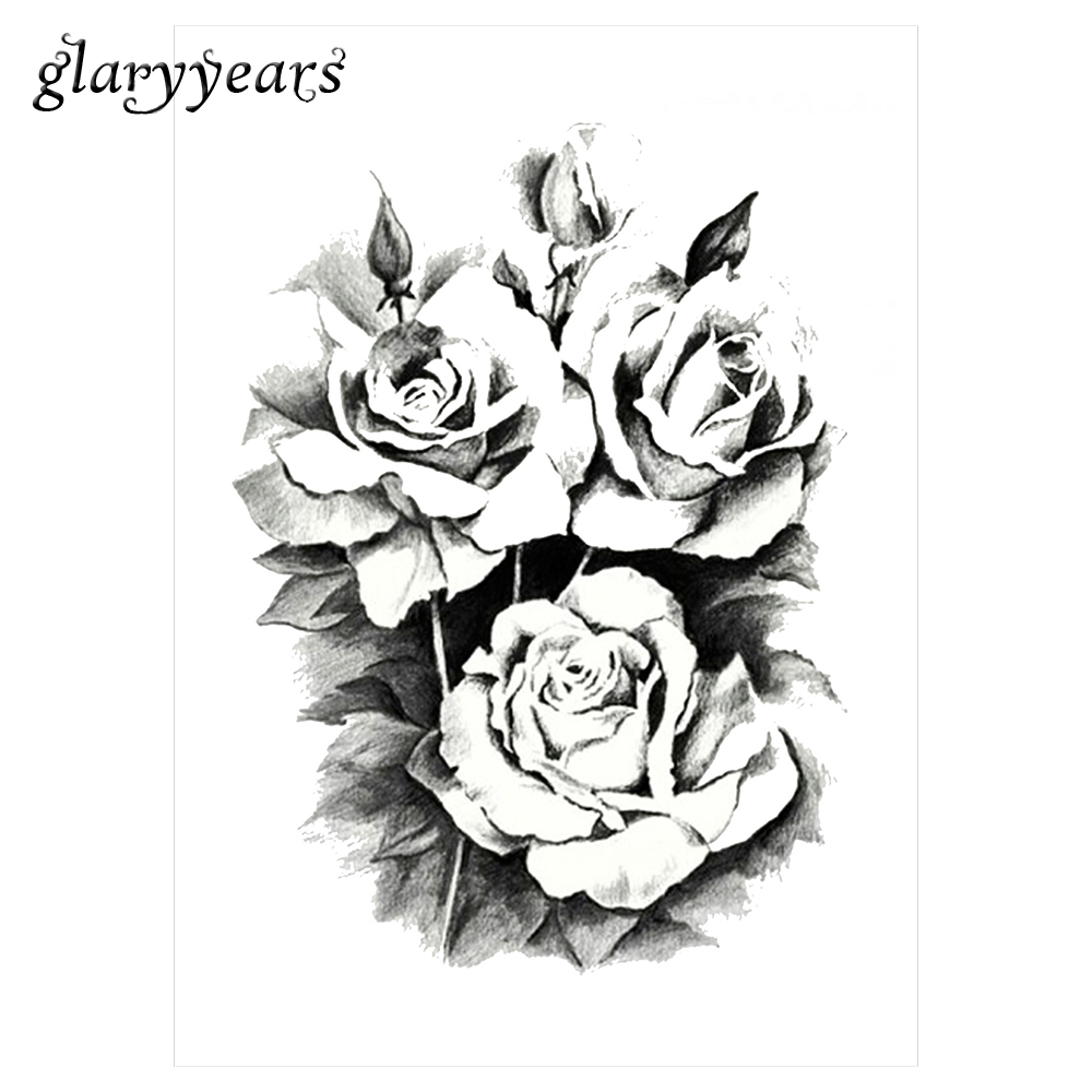 2017 1 sheet women rose flower decal tattoo km 101 water. Black Bedroom Furniture Sets. Home Design Ideas